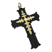SALE Victorian Onyx and 14K Gold Cross Pendant with Pearl