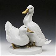 """Goebel Porcelain Sculpture of Ducks Signed """"Andersen"""""""