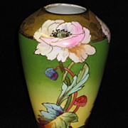 """Rare Hand Painted Brauer Vase """"Stylized Poppies"""" Artist Signed CHALLINOR"""
