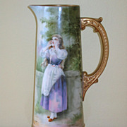 Hand Painted Tankard, Girl Calling Out or Yodeling, Artist Signed A. HEIDRICH