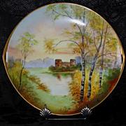 Pickard Hand Painted CASTLE SCENE Cake Plate, Artist signed COMYN