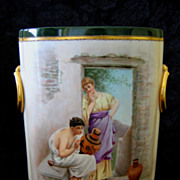 Hand Painted Limoges Cache Pot Vase Artisan Scene - D'Arcy Studio - Artist Signed LM
