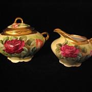 Ginori Handpainted Roses Creamer and Sugar Bowl Artist Signed