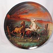 "Hand Painted Limoges 16"" Wall Plaque ""Fleeing Wallachian Horses"" Pickard Artist"
