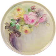 "Breathtaking LARGE 16"" ROMANTIC TEA ROSES Antique Limoges French Hand Painted Victorian C"