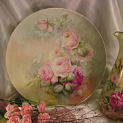 "SALE ""BEAUTIFUL ROMANTIC SOFT ROSES"" Large 13-5/8"" Antique Hand Painted Limoges"