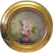 """VICTORIAN FRENCH HAND PAINTED TEA ROSES"" Gorgeous Limoges France Framed Tray ~Chop"