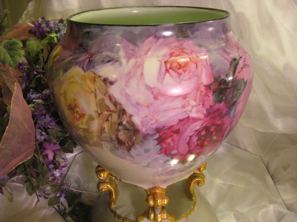 Quot Breathtaking Roses Quot Massive And Rare Footed French Jardiniere Planter From
