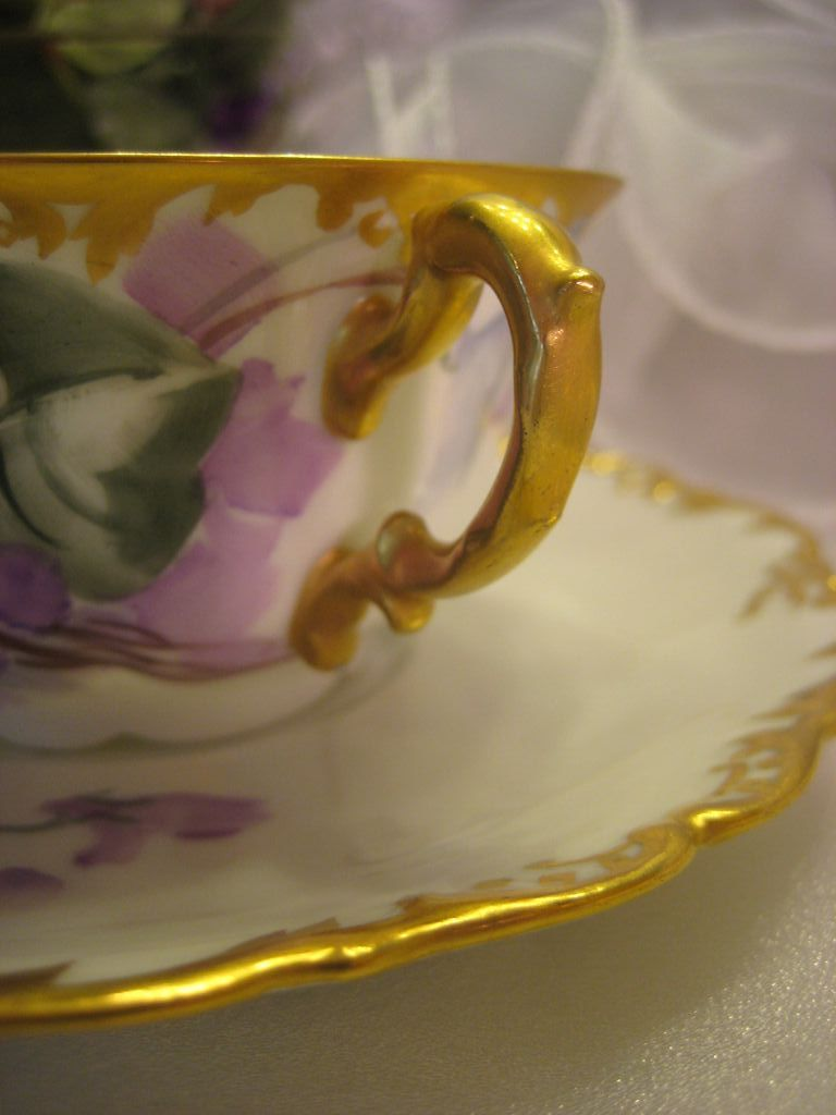 Quot French African Purple Violets Tea Cup Amp Saucer Quot Antique