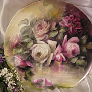 "SALE ""ROMANTIC VICTORIAN ROSES"" Absolutely Stunning Large 16"" Antique Hand Pain"