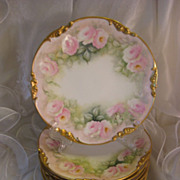 "SALE ""Breathtaking Museum Quality"" Gorgeous Antique Limoges France DESSERT PLATES ~"