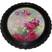 """VICTORIAN FRENCH HAND PAINTED TEA ROSES"" Gorgeous Limoges France Framed Plaque ~ Tr"