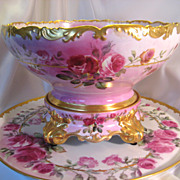 SOLD Gorgeous Antique T&V Limoges France Hand Painted Roses Porcelain Punch Bowl With Matching
