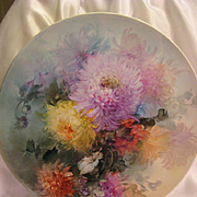 "Absolutely Superb Limoges France 15 ¾"" Hand Painted Artistry Of Gorgeous Vivid Chrysanthemu"