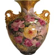 """Absolutely Stunning"" Exceptional Antique CAC Belleek Vase PINK BURGUNDY YELLOW ROSE"