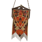 SOLD Beautiful Mandalian Mfg. Colorful Vintage Geometric Art Deco Enameled Mesh Handbag Purse