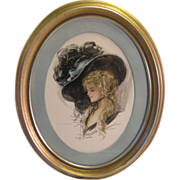 SOLD Wonderful Harrison Fisher Beauty ~ 1907 Vintage Print in Oval Wood Frame