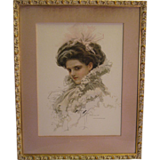 SALE Wonderful Harrison Fisher Beauty ~ 1909 Vintage Print in Gold and Gesso Wood Frame