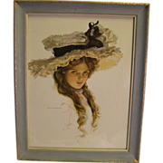 SALE PENDING Wonderful Harrison Fisher Beauty ~ 1909 Vintage Print in Vintage Wood Frame