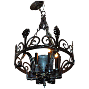 Wrought iron chandelier with six candlestick lights