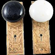 Porcelain door knob with ornate brass back plate