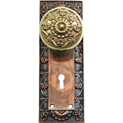 Corbin Greek copper plated knob with backplate