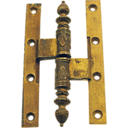 Gilded colored solid brass ornate Victorian hinge