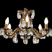 Ten light ornate brass & crystal chandelier