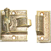 Set of late 1800's bronze ornate window latches