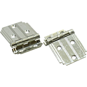 Pair of nickel plated Deco cabinet hinges
