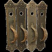 Classic Victorian bronze entry door pull set
