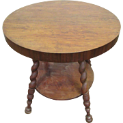 19th Century coiled walnut burled leg table