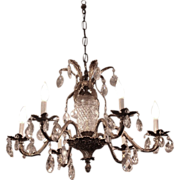 Solid brass & crystal six arm chandelier