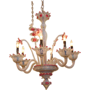 Pink Murano floral opalescent glass chandelier