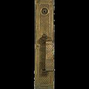 Deco ornate cast brass door pull