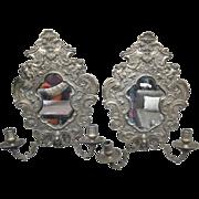 Ornate bronze & mirror candle sconces