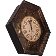 Wall clock with chinoiserie marble face