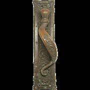 Large bronze ornate door pull