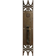 Oversized pair of gothic bronze door pulls