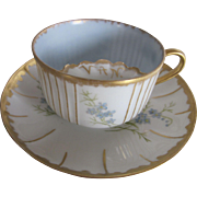Antique Limoges Hand Painted Mustache Cup and Saucer set