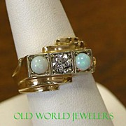 14K Yellow Gold .74 Ct. Diamond and Opal Ring Size 8