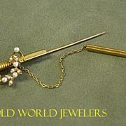 18K Yellow Gold Sword Brooch made by Birks,Circa 1900