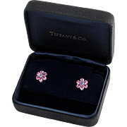 Platinum Tiffany & Co. Pink and Blue Sapphire Flower Stud Earrings