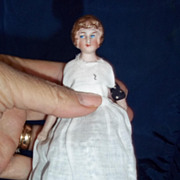"SALE 5.5"" Bisque head dollhouse doll dressed as a maid"