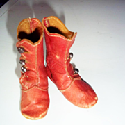 SALE Small Red Leather Boots for a Fashion Doll