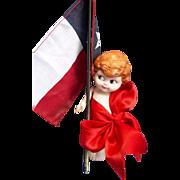 SALE All Bisque Carnival Kewpie Dressed in Red Ribbon As Is