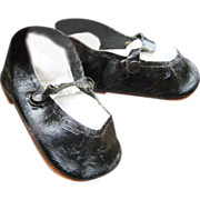 SOLD Black Oilcloth shoes for Large Doll