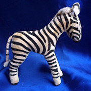 SALE Fifties or Sixties  Steiff Zebra with silver Button