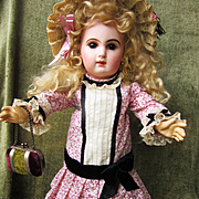 Floral Pink Silk Dress for French or German Doll