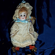 """SALE 4.5"""" All Bisque with original wig and sleep eyes"""
